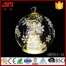 Christmas handmade LED glass ball artwork for home decoration
