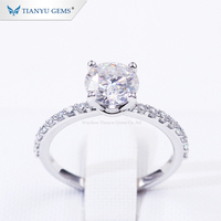 Tianyu Customized 14k/18k white Gold ring 1.5ct round heart&arrow colorless forever one moissanite engagement lady ring