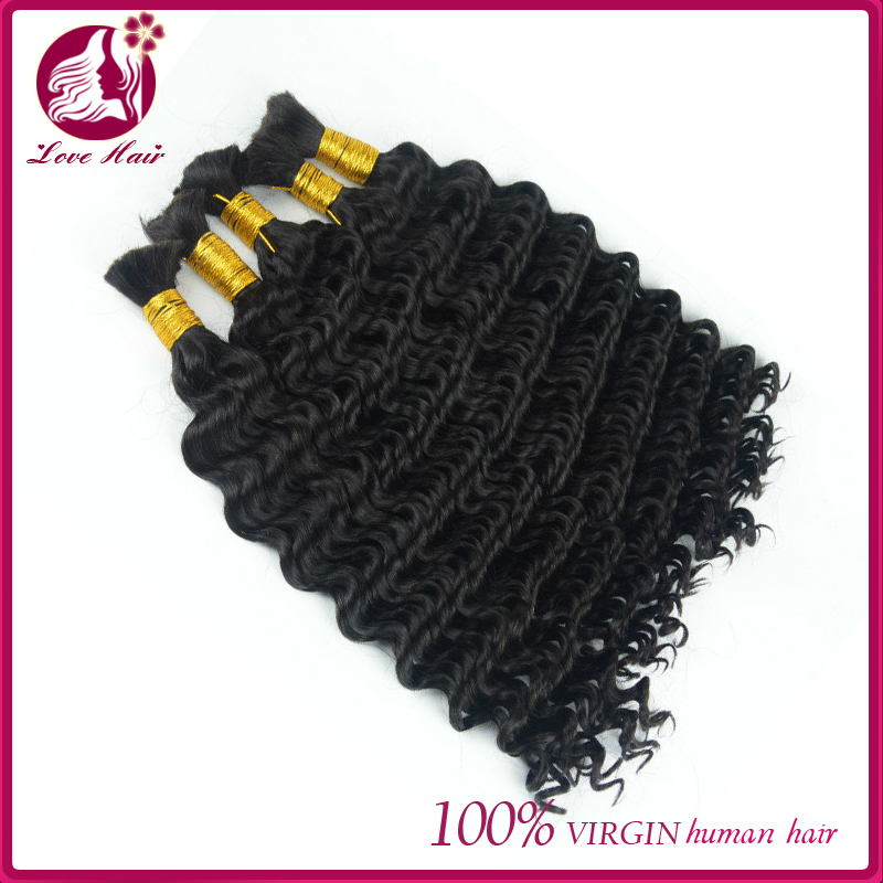 Human hair extensions weft 100% malaysian deep curly hair weaving natural color hair bulk