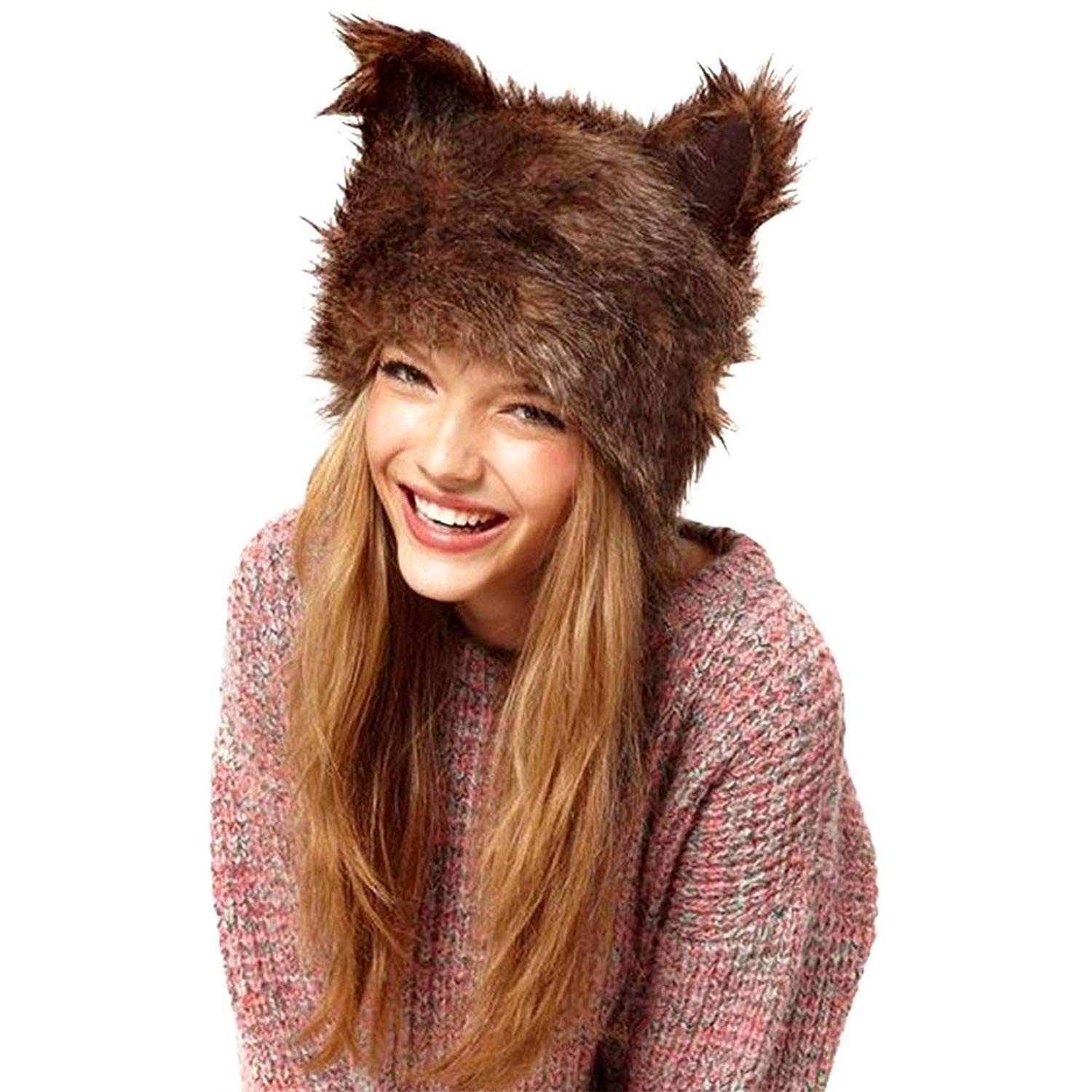 e51f847b40703 Get Quotations · Pannow Cute Artificial Animal Ear Hair Imitation Fur Hat  Santa Hat Women Warm Hat
