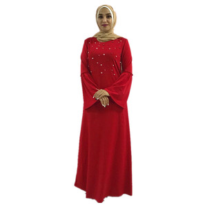 Elegant Red Muslim Long Sleeves Dress for England Women