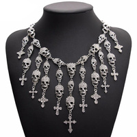 New Arrival Crystal Skull Necklace Pendant Punk Antique Silver Raven Skull Necklace