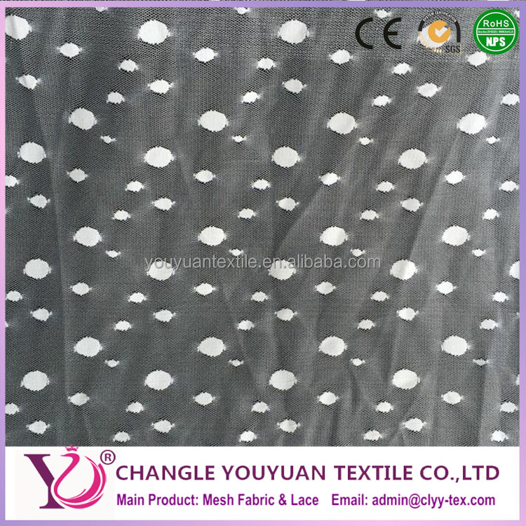 White flocking polka dot netting spandex fabric for dress