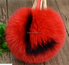 Multi color love heart fox fur pom poms/ letter fur pompom ball alphabet fox fur keychain