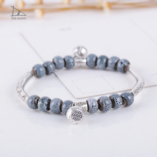 Personality Designs Small fresh Tibetan silver accessories ceramic small bead festival bangle bracelet