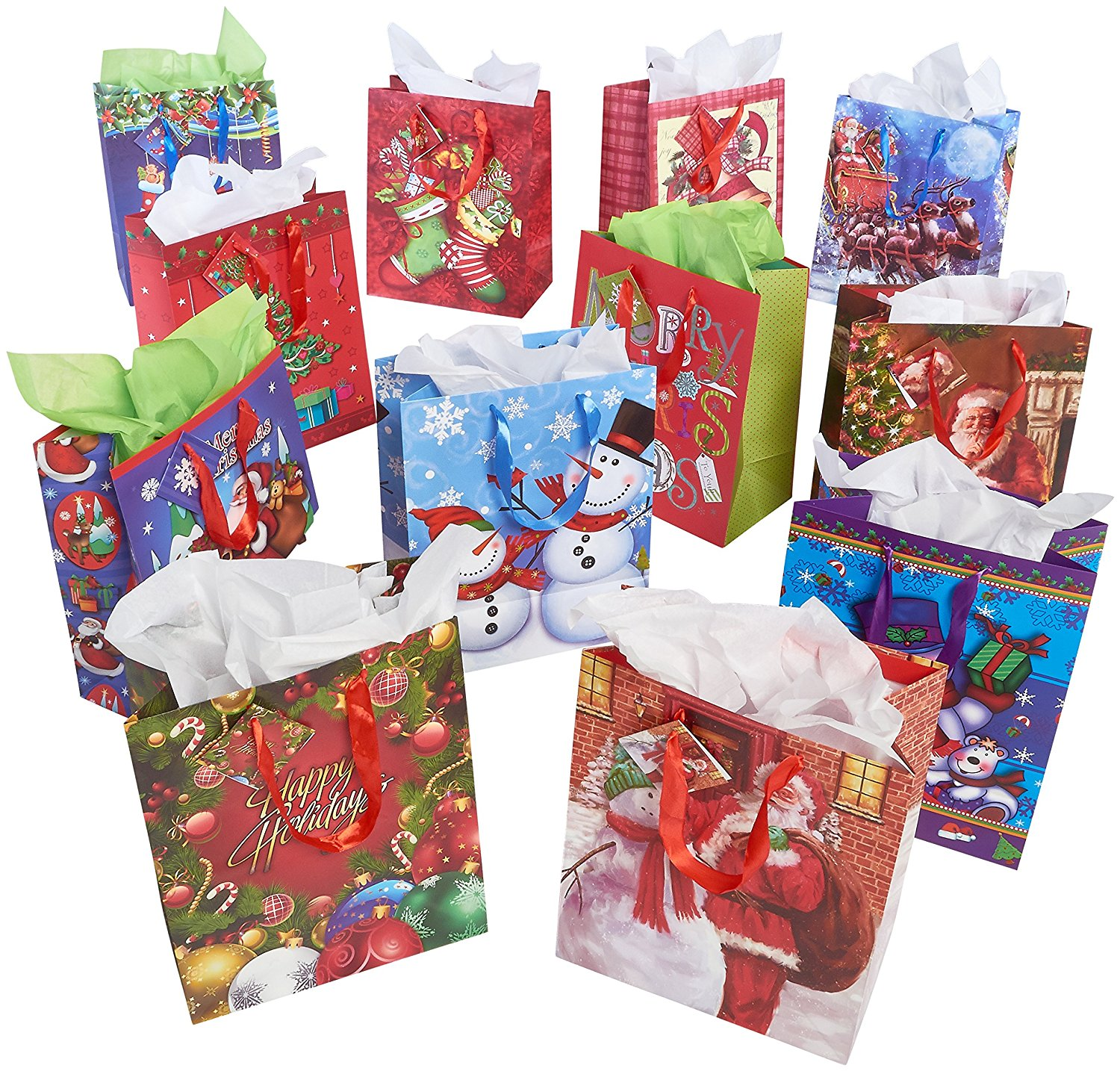 Prextex 12 Assorted 13'' Christmas Gift Bags Holiday Gift Bags Large size Assorted Bright Prints