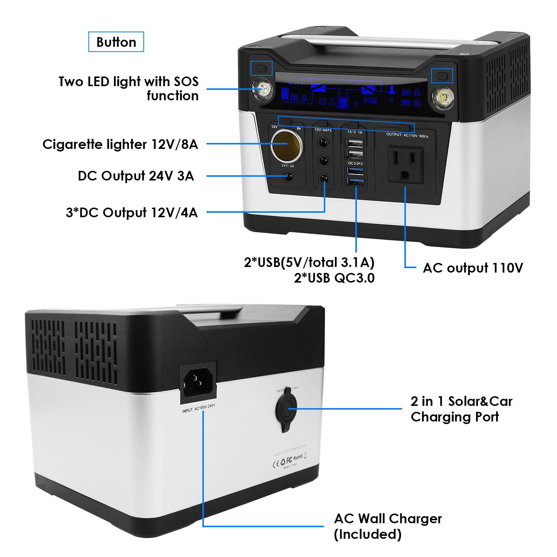 300W 110v 220v 230v 240v portable solar power generator for outdoor and home use