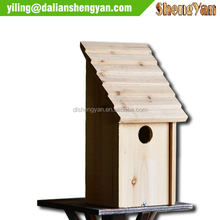 Unfinished Natural Wooden High Rise Standing Blue Bird House