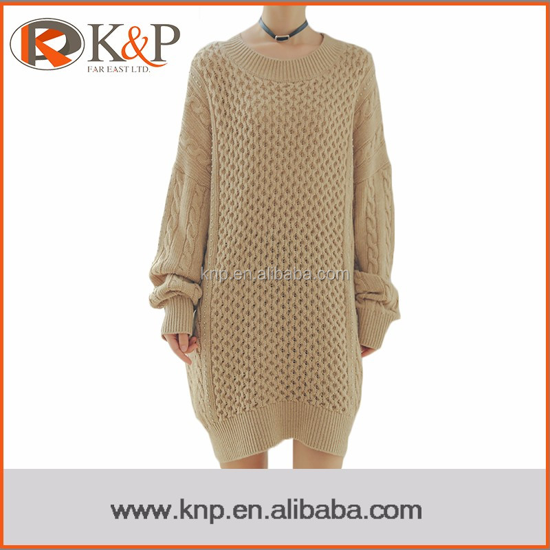 Custom Made Fashion Khaki Long Sleeve Cable Knit Ladies Sweater Dress