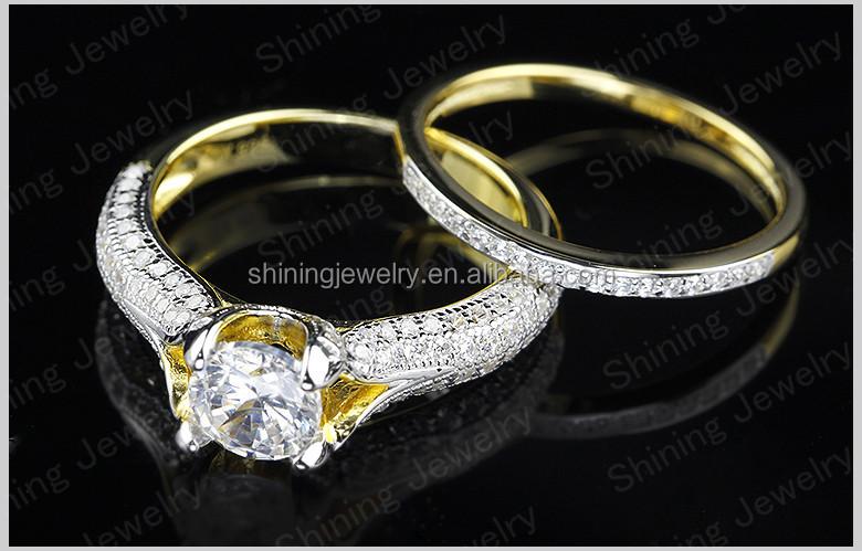 Wholesale Weding Rings Set 14k Gold Filled Sterling Silver Cz Wedding Ring