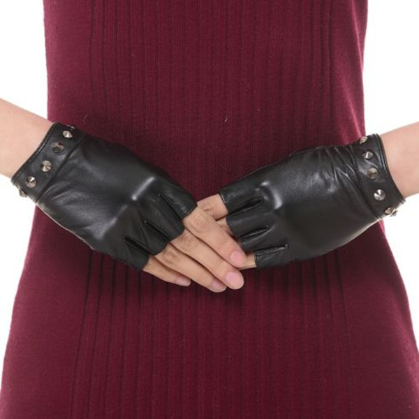 Rockstud sexy lady wearing genuine fingerless leather glove