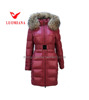 Red color natural raccoon fur collar beautiful clothes for woman