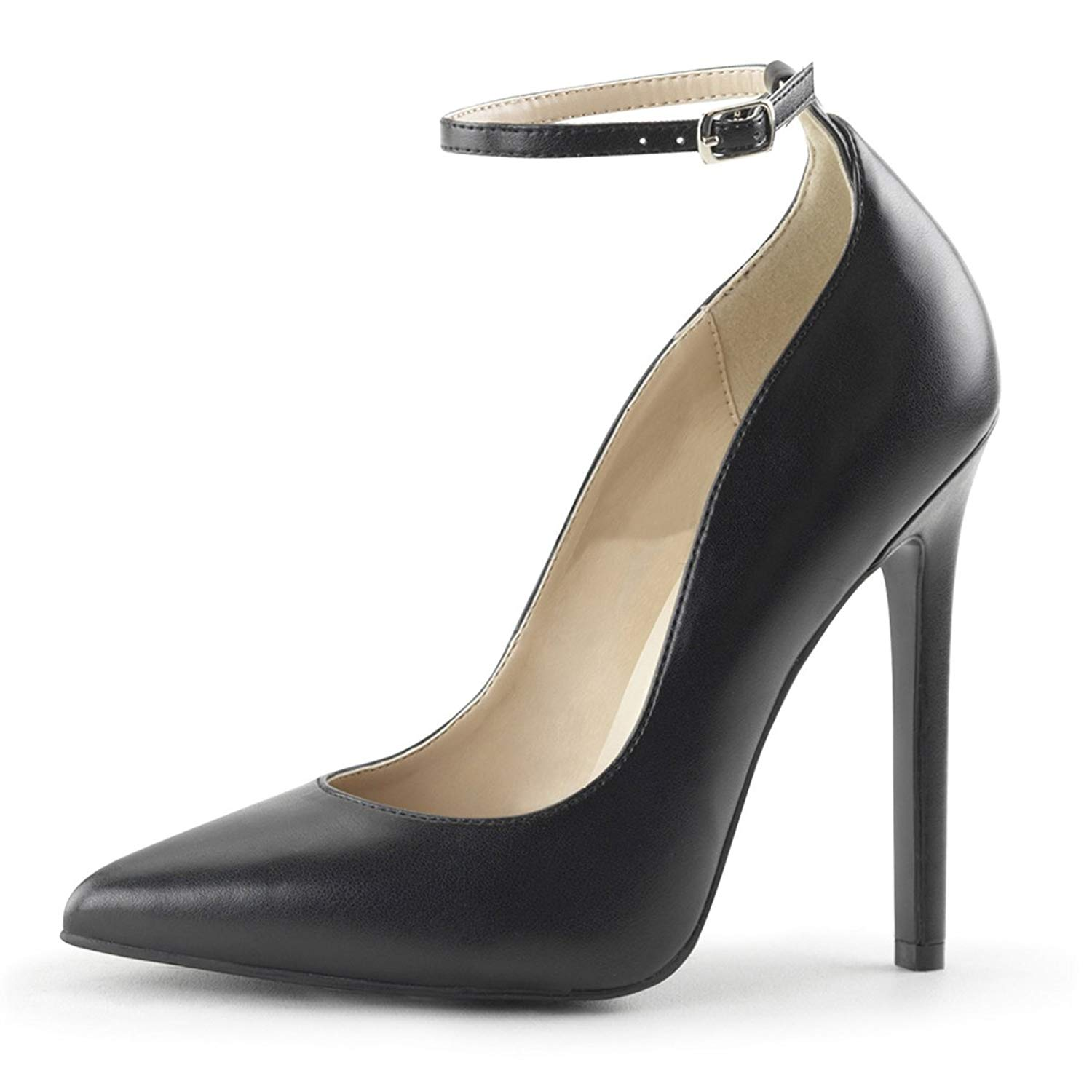 41fb56ee76c Get Quotations · Summitfashions Womens Black Ankle Strap Heels Pointed Toe  Pumps Stiletto 5 inch Heels Shoes