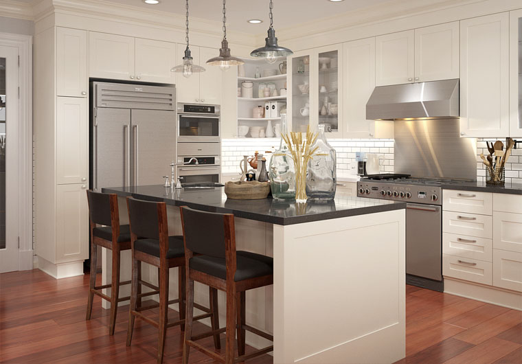 OPPEIN New Design White Shaker Wooden Kitchen Cabinets with Countertop