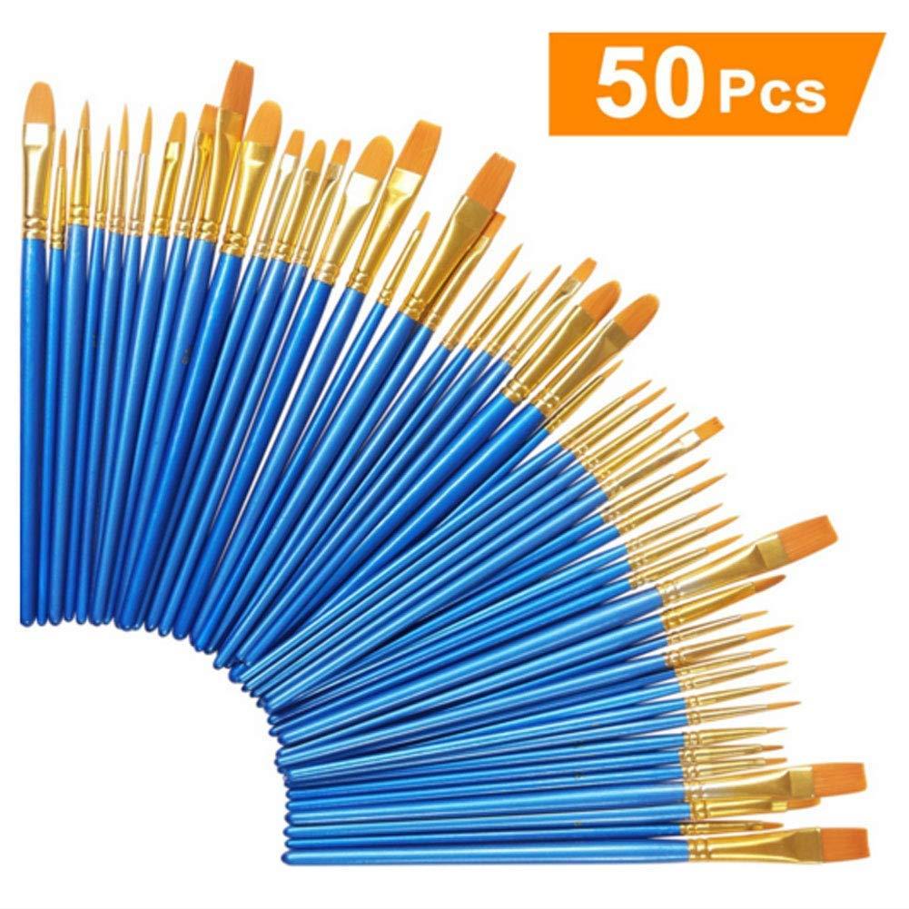 Paint Brush Set,Art Paint Brushes Set Nylon Hair Brushes for Oil- Watercolor Painting Artist Kits Nice Gift for Artists, Adults & Kids 5 packs/50 pcs