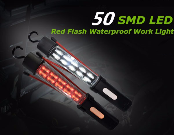 Good performance 50 SMD led work light inspection light rechargeable work light with hook