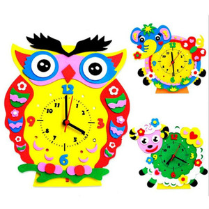 DIY Assembled Creative Educational toys Cartoon Animal Clock Toys for Kids Baby Arts Crafts
