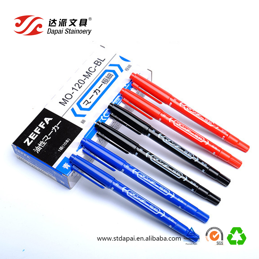 0.5-1.0MM double-headed oily marker pen very thin waterproof black disc pen color indelible ink marker pen