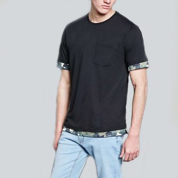 Manufacturers Direct Sales black mens short sleeves tshirt plain with a chest pocket
