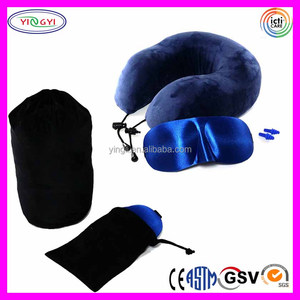 E283 Premium Memory Foam Neck Pillow Sleep Mask Ear Plugs Travel Set Comfort Sleep Easy CNH Pillow