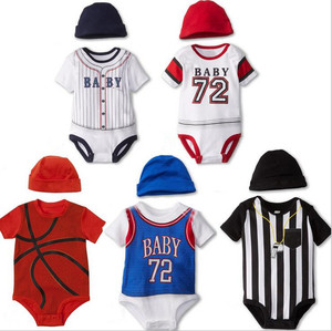 Baby clothes 2 pcs set sport style short sleeve bodysuit and hat