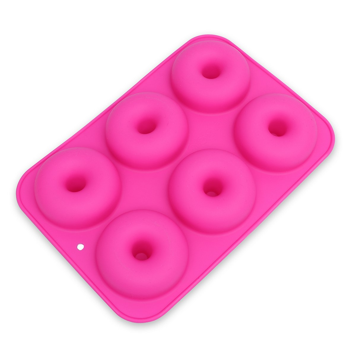 OUNONA 6-Cavity Silicone Donut Mold,Non-Stick Donut Baking Pan for Cake Biscuit Bagels Muffins (Rose Red)