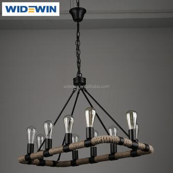 10 Light Hemp Rope Chandelier Vintage Country Style Artistic Pendant Lighting