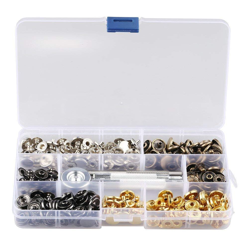 Buy 120 Sets Snap Fasteners Kit, Metal Snap Buttons Press Studs with