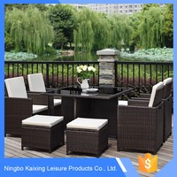 PE rattan wooden 6 seat luxury dining table and chair set