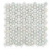 Century Mosaic Polished Thassos White And Ming Green Flower Marble Mosaic Tile