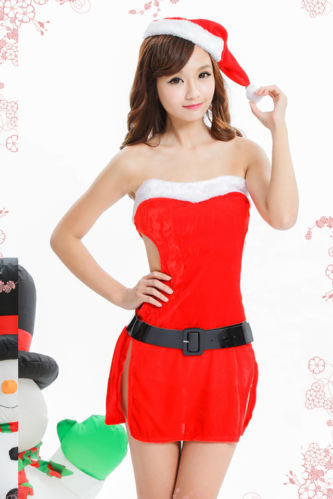 530fe38041c Get Quotations · Sexy HotSexy Hot Lady Women Christmas Red Santa Claus Soft Costume  Outfit Hat Dress Set