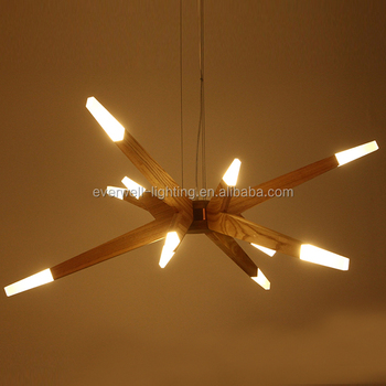 Indoor Lighting Modern Hanging Lamp Led Light Wooden Chandelier Pendant Wood Product On