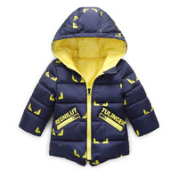 2016 Winter New baby boy and girl clothes children's warm jackets kids sports hooded outerwear