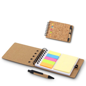 eco friendly mini cork  notebook with memo sticky notepad and paper ball pen NOTEBO816