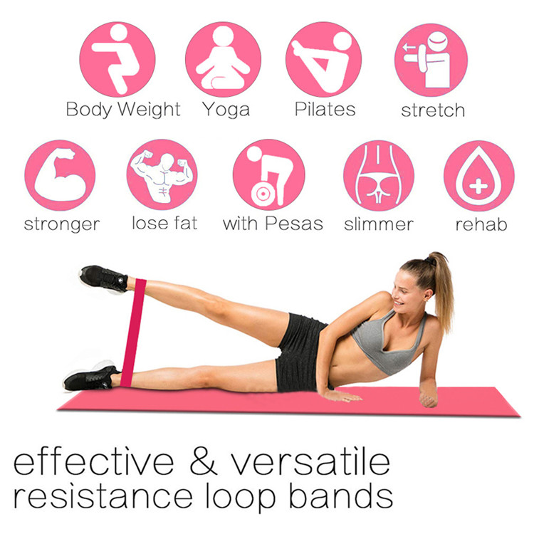 Custom printed yoga fitness latex exercise resistance loop band set booty bands