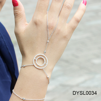 Fashionable Women S 925 Silver Slave Ring Bracelet Combination Simple Circle Hand