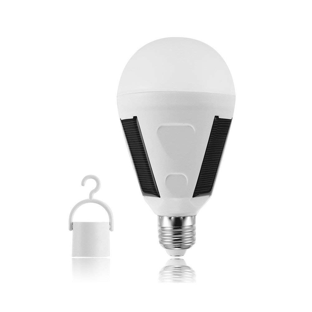 Solar Panel Powered LED Light Bulb, Hanging Solar Light, Portable Waterproof Emergency Light Bulb for Indoor and Outdoor,Garden,Hiking,Camping - White (7W)