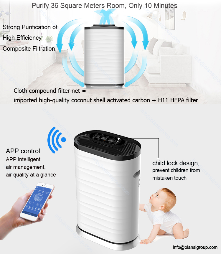 China OEM ODM H13 Grade Air Cleaner Touch Panel Wifi Control Smart HEPA Filter Air Purifier