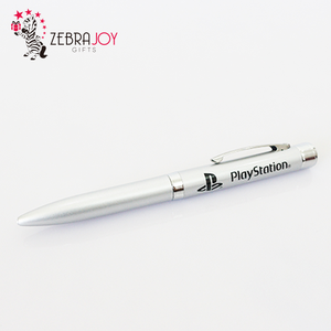 Customized promotional gifts silver led function light tip metal ball pen