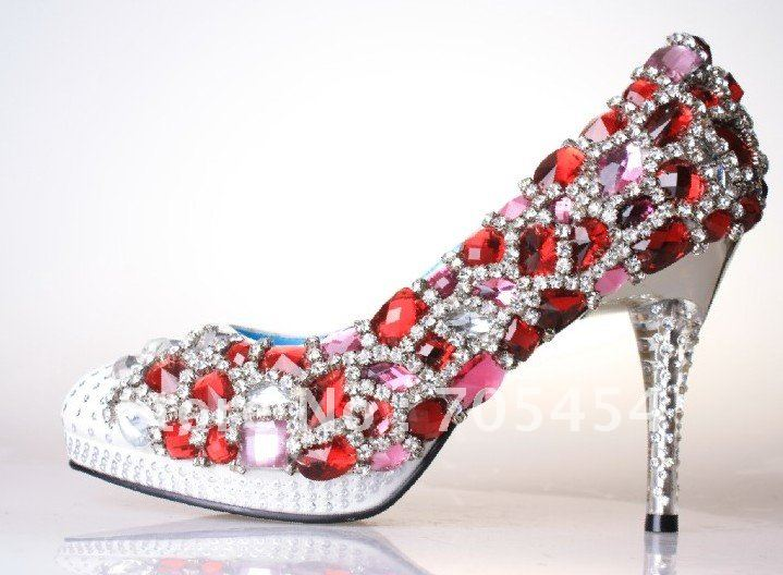 Bs097 Free Shipping Red Ruby Rhinestones Bridal Wedding Shoes Crystals Party