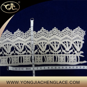 (YJC15318) Raw White Embroidered Sequin Trim Lace Embroidered Trim
