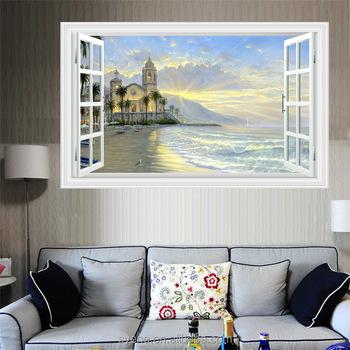 Pemandangan Alam Dinding Gambar 3d Indah Pemandangan Pantai Jendela