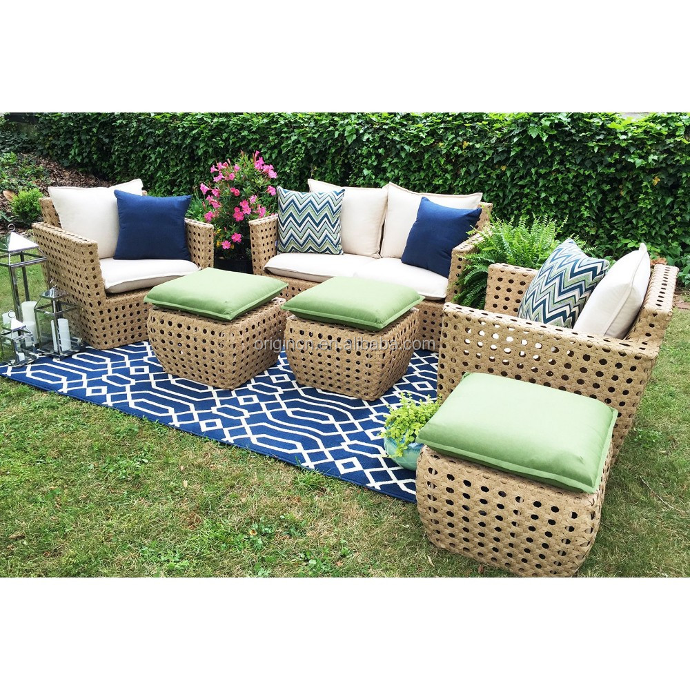 2017 hottest products handcraft cane octagonal woven deep seating patio sofa set outdoor rattan and wicker furniture