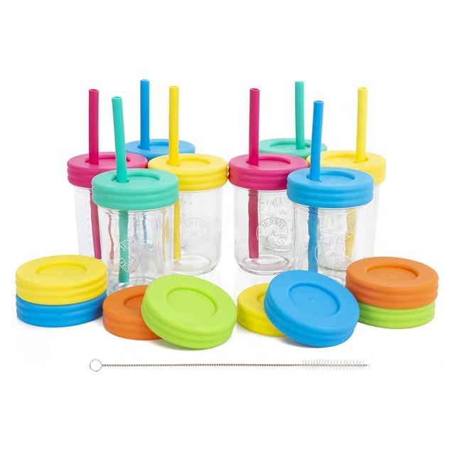 8OZ Bambini di Vetro Mason Jar Bere Tazze Con Coperchi & Silicone Cannucce di Paglia & Spazzola di Pulizia