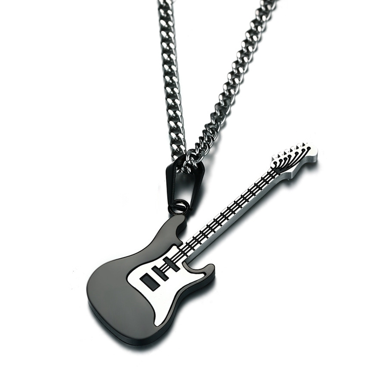 Guitar Necklace For Men Black/Gold Color Stainless Steel Pendant Chain Hip Hop Rock Jewelry