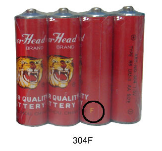 Original Tiger Head Brand Super Quality R6 304F UM-3 AA Size Paper Jacket Battery