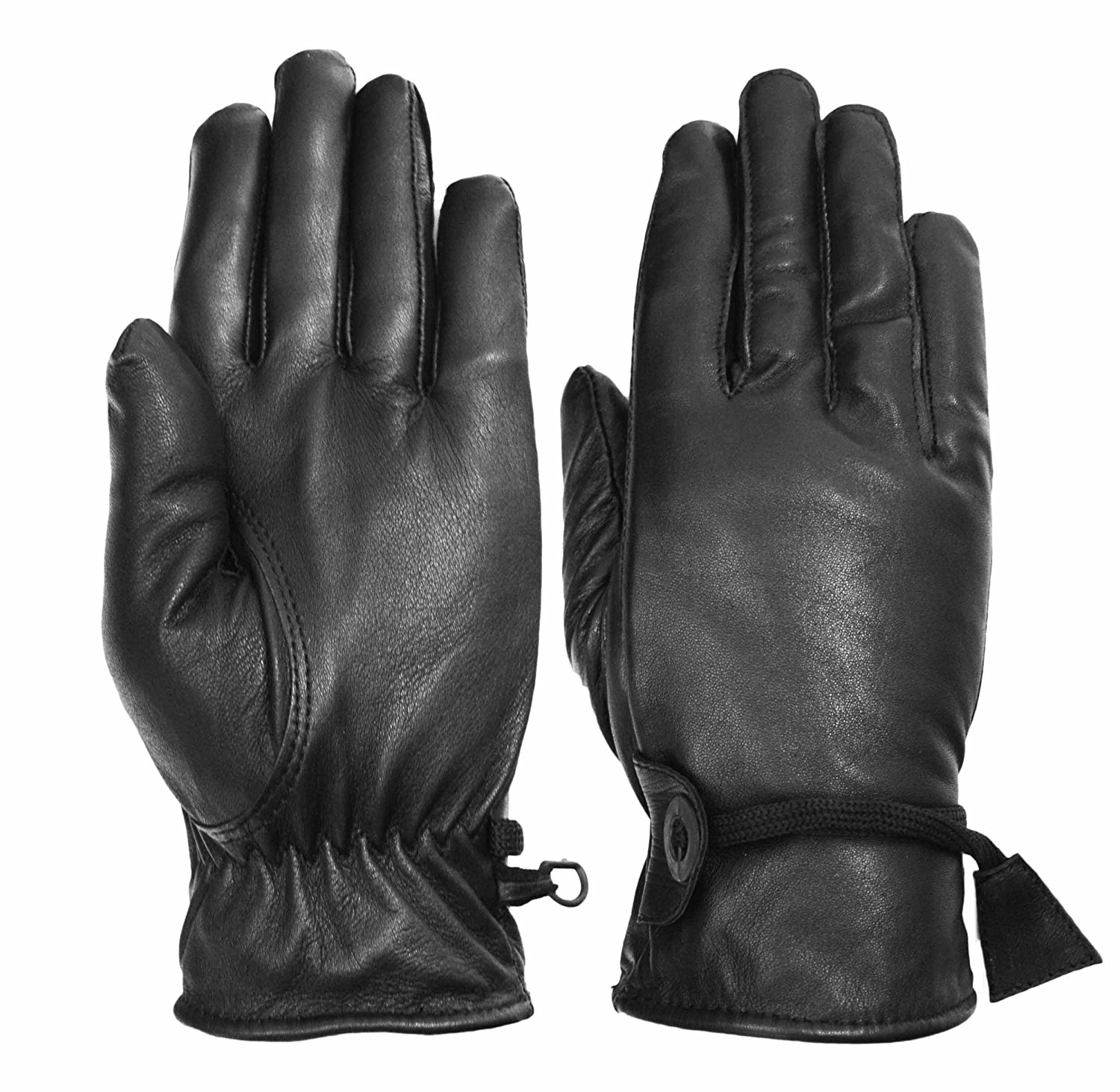Vance Leathers Women's Premium Lined Motorcycle Riding Gloves - Black - L