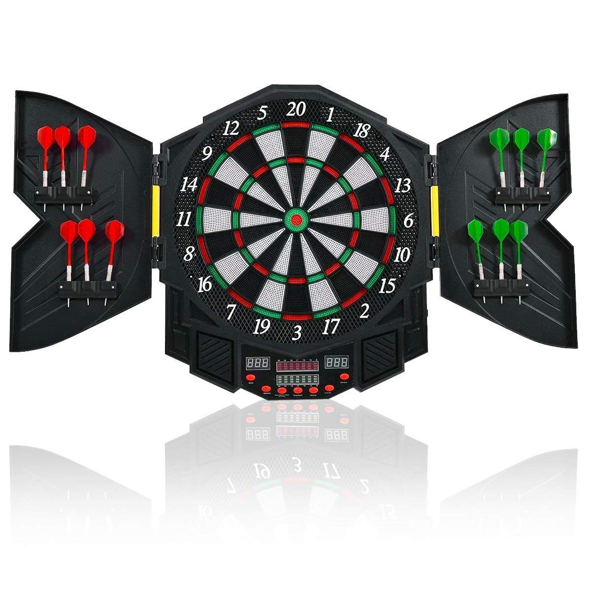 Goplus Electronic Dart Board Set Sport Game Cabinet LED Display Professional Dartboard w/12 Darts