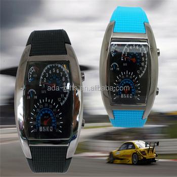 Turbo Sports Car Meter Fashion Mirror Led Watch Women Men Cool Led