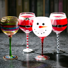 Christmas theme painted unleaded Santa Claus snowman crystal glass wine goblet cup for home decoration
